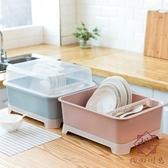 廚房碗筷收納盒瀝水帶蓋碗柜晾碗架餐具碗碟置物架【櫻田川島】