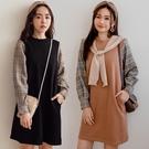 MIUSTAR 側口袋袖格紋厚磅棉質洋裝(共2色)【NH2990】預購