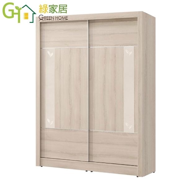 【綠家居】史瓦濟 現代5尺圖騰玻璃推門衣櫃/收納櫃
