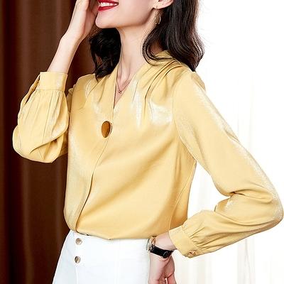 大碼長袖襯衫~襯衣設計感小眾真絲上衣歐貨V領長袖職業緞面襯衫T515愛尚布衣