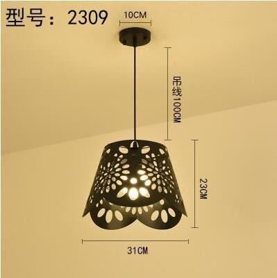 2309黑色款北歐餐廳吊燈創意個性餐廳燈飯廳燈現代鐵藝