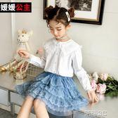 女童襯衫  女童春裝新款襯衫兒童中大童洋氣韓版蕾絲花邊女孩春秋襯衣潮 新品