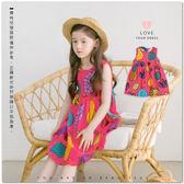 純棉 渡假風熱帶水果棉麻背心洋裝 綁帶 連身裙 韓版 夏日  哎北比童裝