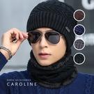 《Caroline》韓版秋冬型男套頭帽貼布加绒保暖針織毛線帽&圍脖2件套組72381