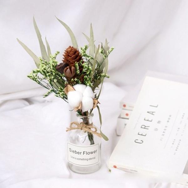 【BlueCat】彩菊棉花小號透明玻璃瓶 乾燥花瓶 裝飾 花束 拍照 拍攝道具 擴香瓶
