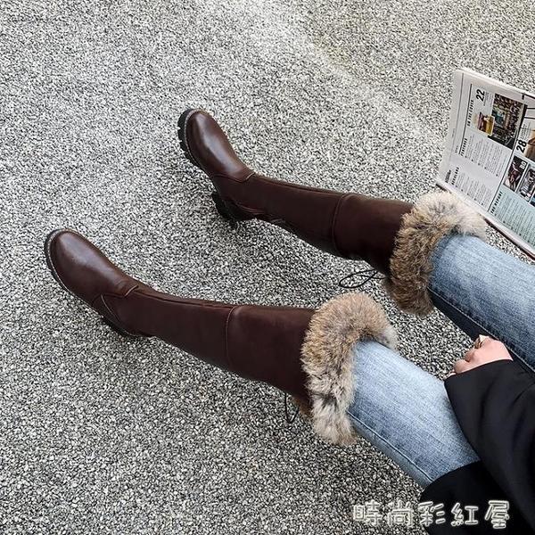 雪地靴女加絨加厚二棉鞋冬季過膝長靴2020新款高筒靴子東北長筒靴「時尚彩紅屋」