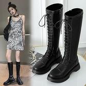 長筒靴女不過膝馬丁靴英倫風高筒靴子秋冬季新款百搭騎士長靴 歐韓流行館