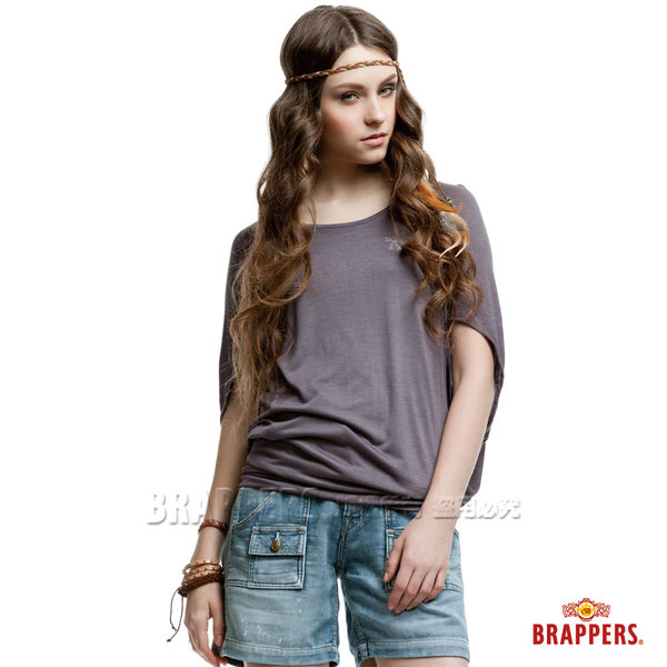 BRAPPERS 女款 蝴蝶結水鑽立體剪接短袖上衣-深灰