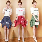 限時38折 韓國學院風學生字母刺繡短T不規則格子裙套裝短袖裙裝