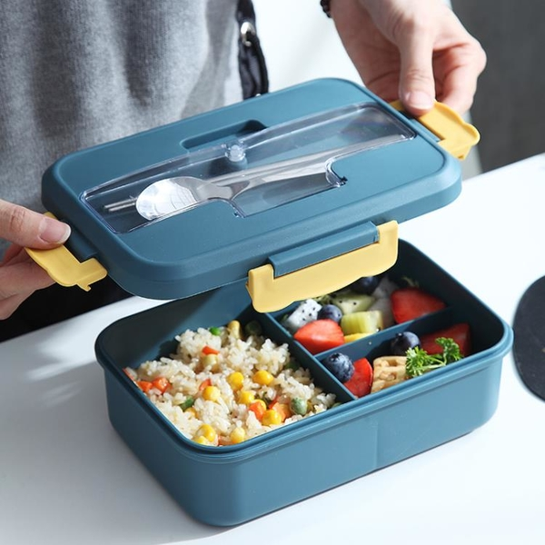 分隔型學生便攜飯盒帶餐具上班族可微波爐加熱保溫便當盒餐盒套裝 【618特惠】