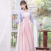 漢服改良齊腰襦裙子古裝服裝女日常仙女飄逸清新淡雅學生古風春裝