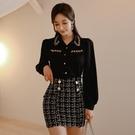 歐媛韓版 職業韓國襯衫 女秋冬新款OL時尚輕熟風長袖上衣黑色設計感小眾