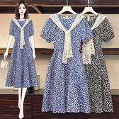 連身裙 洋裝中大尺碼L-5XL胖MM韓版復古顯瘦氣質短袖碎花蕾絲披肩連身裙R28-A.胖丫