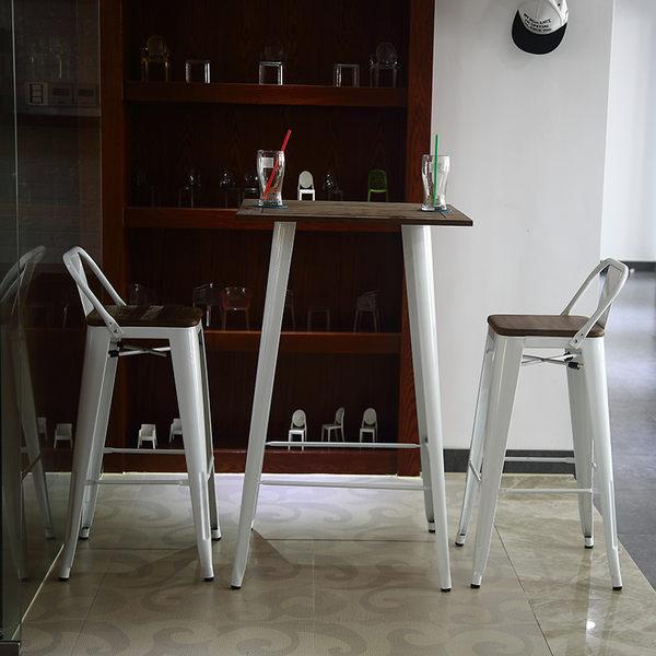 【南洋風休閒傢俱】吧檯桌系列 –曼尼鐵烤漆板吧桌 工業風吧檯桌 (木面款) (523-5)