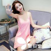 睡衣女夏韓版甜美清新可愛學生吊帶睡裙純棉性感中裙可外穿家居服