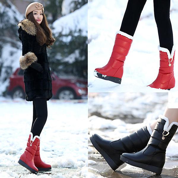 現貨出清雪靴女中筒學生防滑防水加厚保暖加絨棉靴大碼41內增高短靴【蘇迪蔓】