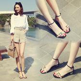 涼感韓版夏季新款百搭電鍍金屬露趾一字扣中跟粗跟涼鞋女夏羅馬鞋【非凡】