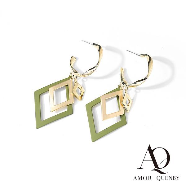 AQ 歐美系鏤空幾何質感綠耳環/配飾(AMOR Quenby)