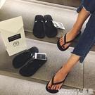 夾腳拖鞋 新款黑色人字拖女夾腳涼拖鞋女夏外穿防滑平底跟沙灘鞋情侶拖 晶彩 99免運