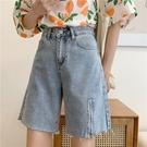 夏季2021年新款寬鬆高腰毛邊牛仔短褲女設計感拉鏈直筒五分褲