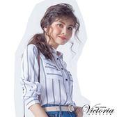 Victoria 印條拉鍊口袋長袖襯衫-女-白底藍條