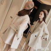 秋冬中大碼翻領中長款毛呢外套小矮個子女裝冬裝150cm顯高呢子大衣女潮CM2119【麗人雅苑】