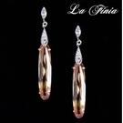 【La Finia】冰晶--水晶耳環(粉橘色)