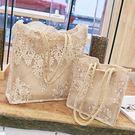 蕾絲包女2019新品手提包購物袋正韓托特包復古刺繡單肩包女包手袋