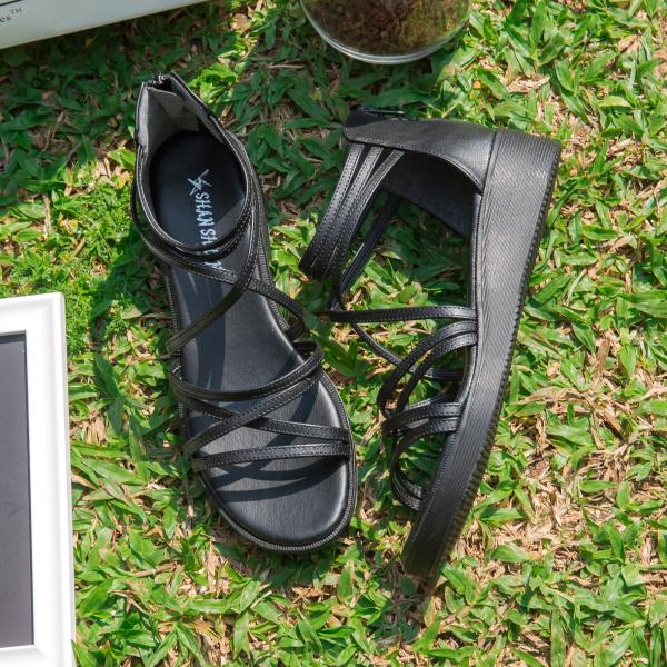 厚底鞋.MIT經典交叉繞帶黑色羅馬楔形涼鞋.白鳥麗子