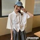 白色襯衫女設計感小眾短款收腰上衣夏季2021新款韓版寬鬆短袖襯衣 時尚芭莎