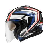 免運【ZEUS 瑞獅 ZS 613B AJ6 珍珠黑藍 安全帽 】內藏墨鏡 眼鏡溝 半罩 3/4罩 內襯全可拆