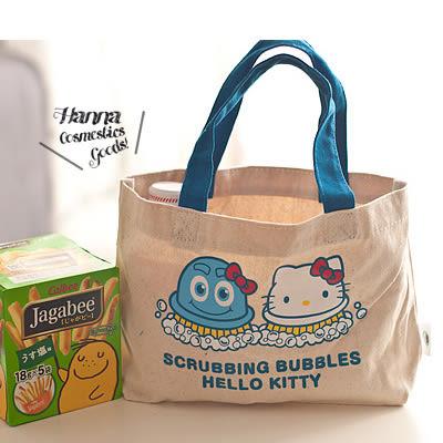 《花花創意会社》【H3531】外流 .hello kitty 泡泡合作款原色帆布小拎包