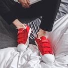 春季韓版百搭小白鞋男帆布鞋情侶魔術貼鞋潮流板鞋學生懶人男鞋子