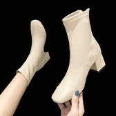 靴子方頭短靴女2020年新款春秋季韓版百搭薄款后拉鏈粗跟馬丁靴裸靴子