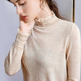 荷葉邊羊毛薄版內搭套頭長袖溫柔風針織衫(二色S-2XL可選)/設計家 AL50100