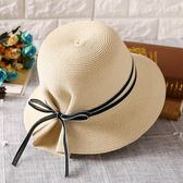 草帽女夏天遮陽帽韓版防曬帽大沿可折疊太陽帽百搭沙灘帽女帽