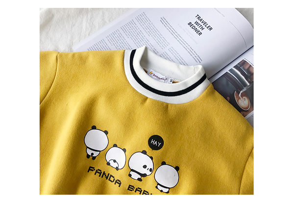 *╮小衣衫S13╭*熊貓寶寶寬鬆版長袖刷毛T恤1061136