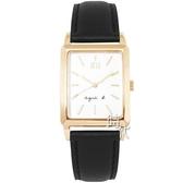 【台南 時代鐘錶 agnes b.】優雅法式人文 BH8046X1@VJ21-KFY0Z 手寫風方形簡約時尚腕錶 皮帶 25mm