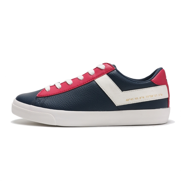 PONY 休閒鞋 深藍 桃紅 白LOGO 滑板鞋 皮革 輕量 百搭 女 (布魯克林) 83W1TS01DB