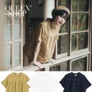 Queen Shop【01023653】基本素色剪接造型短袖棉麻襯衫 三色售*現+預*