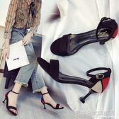 高跟鞋 正韓高跟涼鞋細跟性感露趾一字扣百搭拼色貓跟女鞋子  『名購居家』
