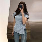 開叉T恤 韓版純棉不規則t恤2020新款女夏側開叉抽繩修身短袖chic純色上衣-米蘭街頭