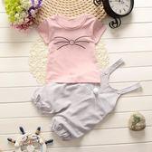 0一1歲女嬰兒衣服薄款短袖背帶褲兩件套