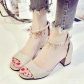 涼鞋 小清新女高跟正韓百搭羅馬鞋簡約一字扣