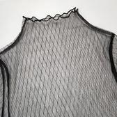 蕾絲 透明網紗打底衫女長袖春秋蕾絲內搭網狀鏤空網格透視薄紗漁網上衣