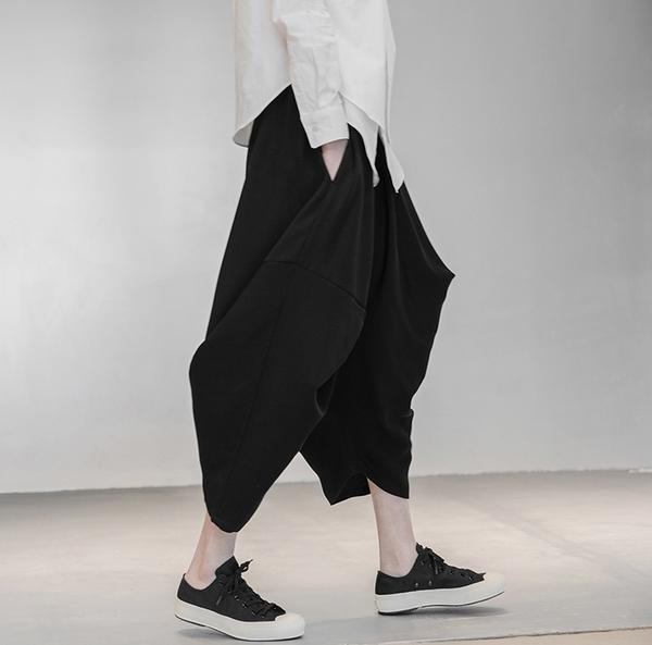 日系不規則個性寬鬆垂感八角褲哈倫褲/設計家SK-6185