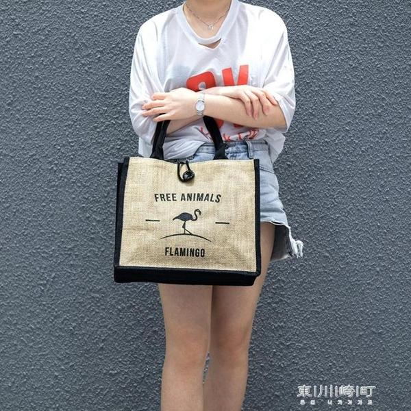 購物袋-棉麻布袋子環保訂製黃麻超市購物大容量旅行時尚便攜 東川崎町