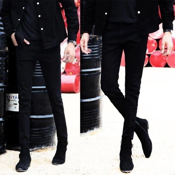 單寧青少年韓版哈倫牛仔褲男薄款男士修身彈力小腳褲男雪花長褲子 【原本良品】