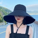 漁夫帽女大帽檐夏天防曬紫外線遮臉遮陽帽子大沿帽大檐折疊太陽帽 快速出貨