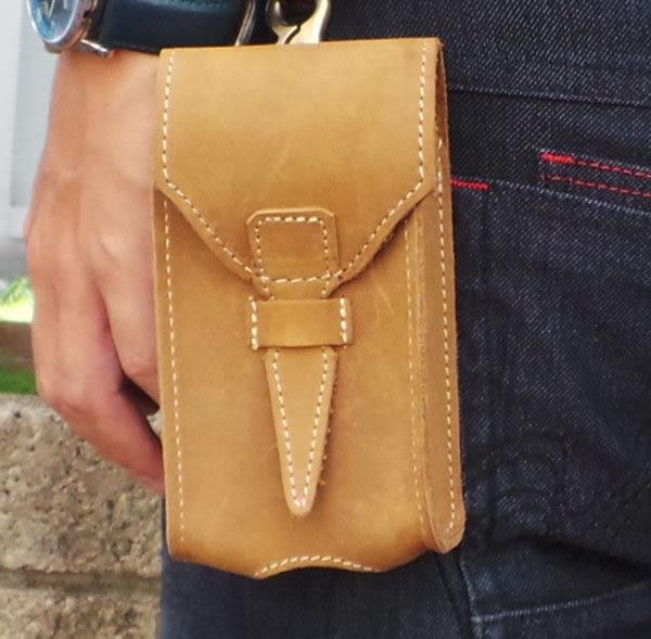 真皮手機腰包-休閒復古瘋馬皮 穿帶環 5吋 iPhone 手機包 掛包 小包 煙包 真皮包 手機袋(黃棕色)